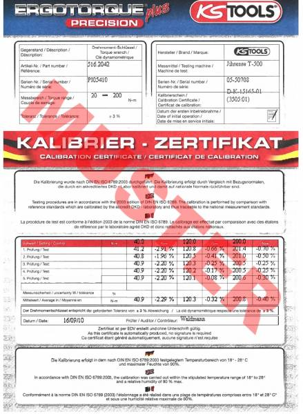 KS-Tools Drehmomentschlüssel 1/2 Zoll 20-200Nm mit Kalibrier ...