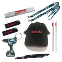 MAKITA Fan-Set mit Kappe, Schlüsselanhänger, Zollstock, Lanyard, Feuerzeug, Bleistift und Kuli