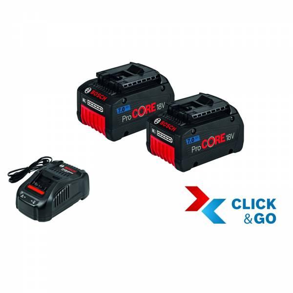 Bosch Akku Starter-Set: 2 x ProCORE 18 Volt 7,0 Ah und GAL 1880 CV
