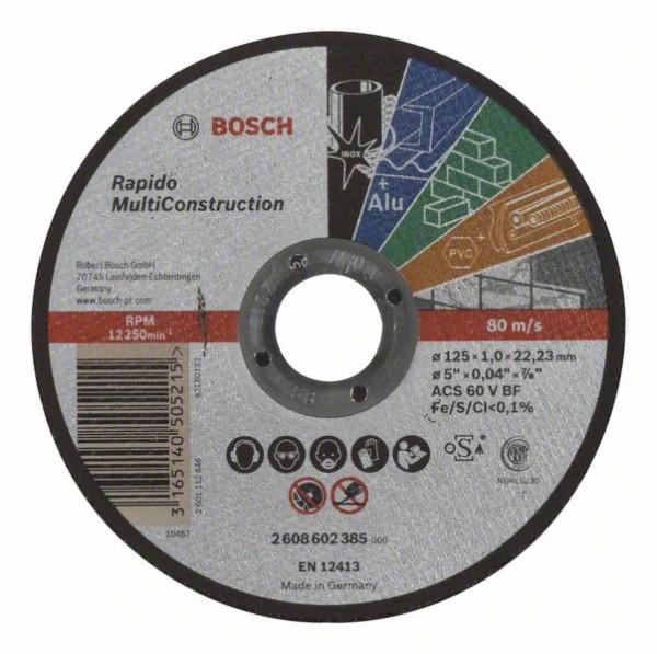 BOSCH TRENNSCHEIBE GERADE RAPIDO MULTI CONSTRUCTION ACS 60 V BF, 125 MM, 22,23 MM, 1,0