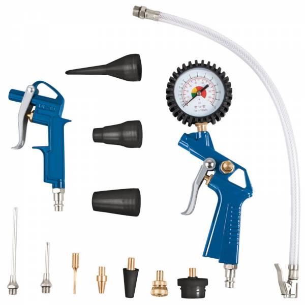 scheppach 13 teiliges Druckluft-Set mit Reifenfüller, Blaspistole uvm.