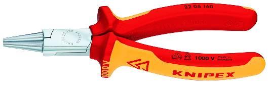 KNIPEX 22 06 160 Rundzange 160 mm verchromt isoliert mit Mehrkomponenten-Hüllen, VDE-geprüft