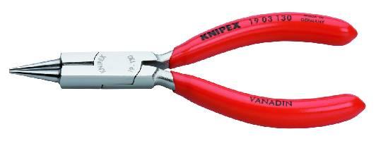 KNIPEX 19 03 130 Rundzange mit Schneide (Schmuckbiegezange) 130 mm verchromt mit Kunststoff überzoge