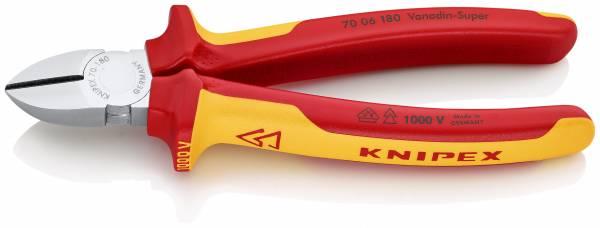 KNIPEX 70 06 180 SB Seitenschneider 180 mm verchromt isoliert mit Mehrkomponenten-Hüllen, VDE-geprüf