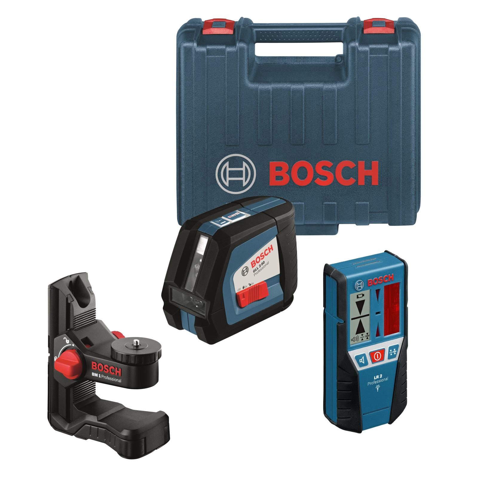 bosch laser kreuzlinienlaser gll 2-50 + empfänger lr 2 + halter bm 1
