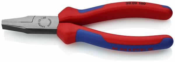 KNIPEX 20 02 160 SB Flachzange 160 mm schwarz atramentiert mit Mehrkomponenten-Hüllen poliert