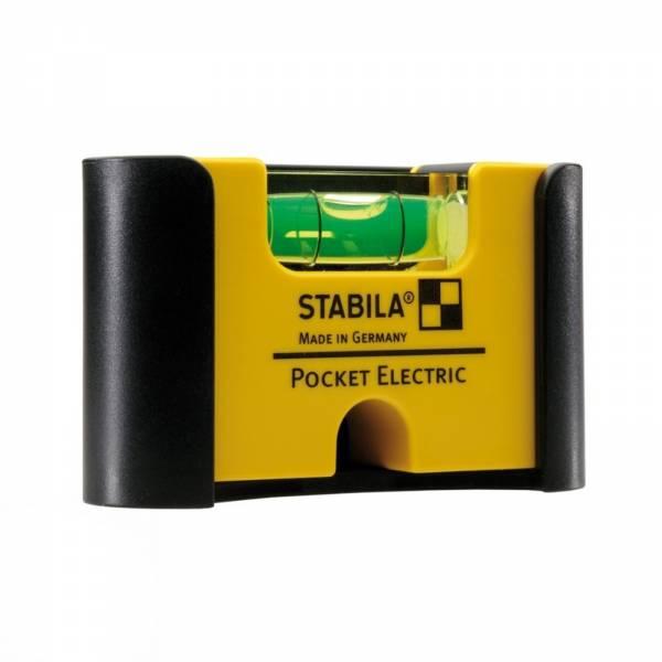 STABILA Wasserwaage Pocket Electric 7 cm Seltenerd-Magnetsystem Gürtelclip 18115