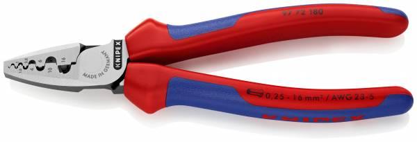 KNIPEX 97 72 180 Crimpzange für Aderendhülsen 180 mm mit Mehrkomponenten-Hüllen poliert