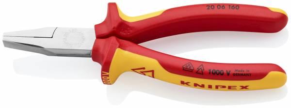 KNIPEX 20 06 160 Flachzange 160 mm verchromt isoliert mit Mehrkomponenten-Hüllen, VDE-geprüft