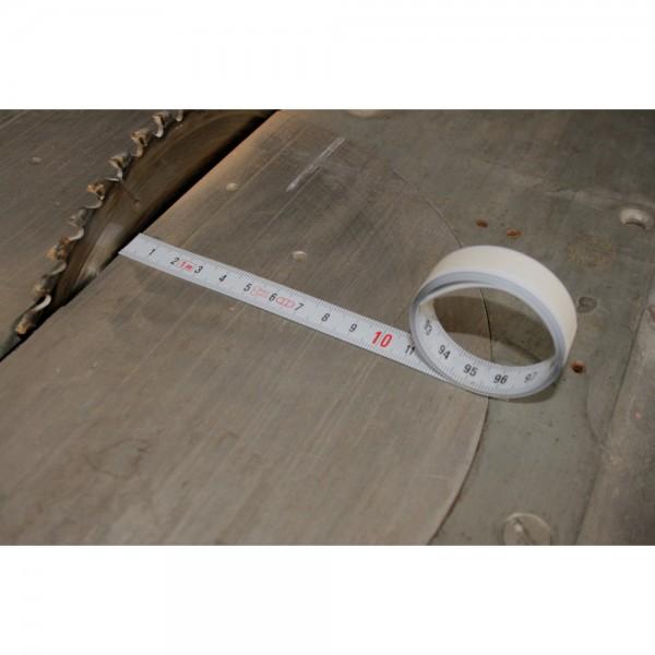 Skalenbandmaß Stahl weiß selbstklebend, links nach rechts HEDUE, Varianten X110 X120 X150