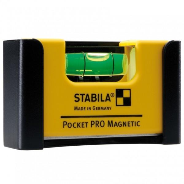 Stabila Wasserwaage Pocket PRO Magnetic 7 cm + Seltenerd-Magnetsystem Gürtelclip 17953
