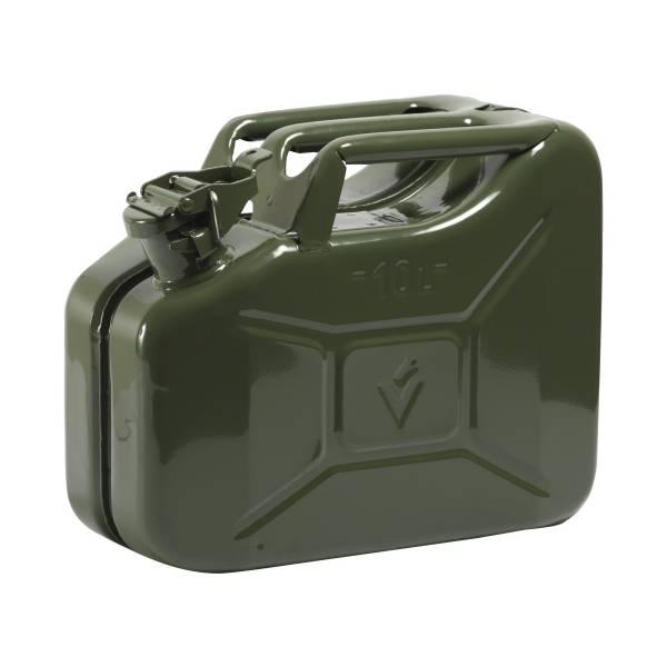 Benzinkanister Stahlblech 10l GS+UN-geprüft Oliv-Grün