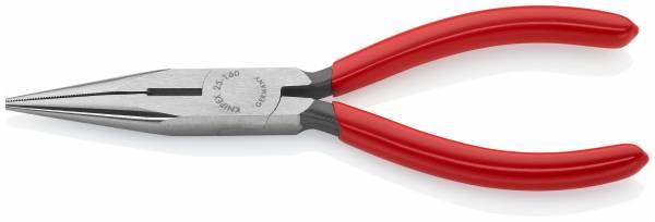 KNIPEX 25 01 160 SB Flachrundzange mit Schneide (Radiozange) 160 mm schwarz atramentiert mit Kunstst