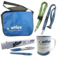 Atlas Fan-Set mit Tasche Tasse Kuli Lanyard Zollstock