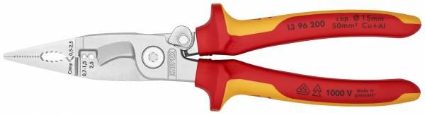 KNIPEX 13 96 200 Elektro-Installationszange 200 mm verchromt isoliert mit Mehrkomponenten-Hüllen, VD