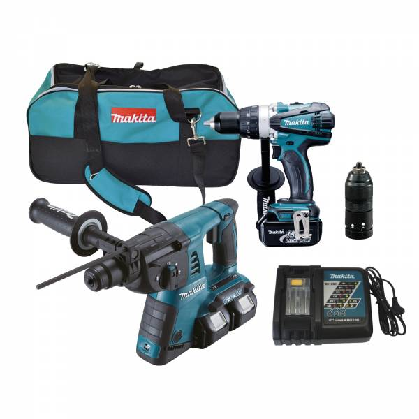 makita 18v set dlx2082m akku bohrschrauber ddf458 36v bohrhammer dhr264 tasche ebay. Black Bedroom Furniture Sets. Home Design Ideas
