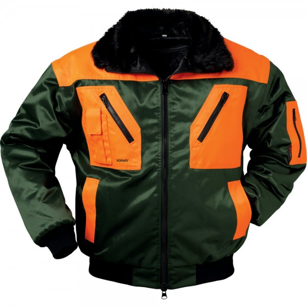Pilotenjacke Rotdorn, Gr.XL, grün-orange
