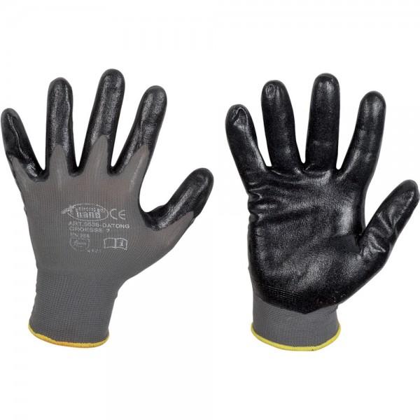 Feinstrick Handschuhe Datong, Nitril, grau VPE 12