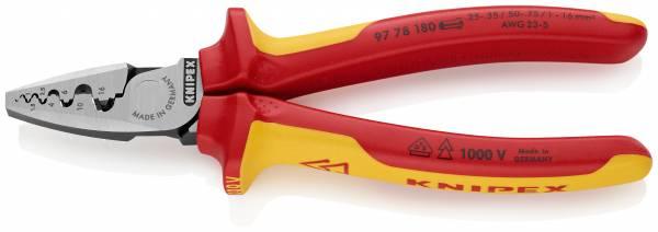 KNIPEX 97 78 180 Crimpzange für Aderendhülsen 180 mm isoliert mit Mehrkomponenten-Hüllen, VDE-geprüf