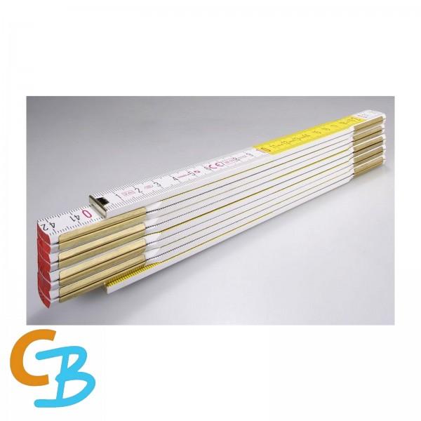 STABILA Holz-Gliedermaßstab Type 617, 2 m, weiß/gelbe metrische Schnellableser-Skala (01128)