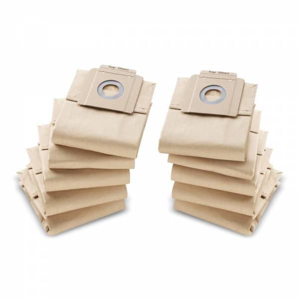 10x Kärcher Papierfiltertüten 2-lagig alle Trockensauger 69043330