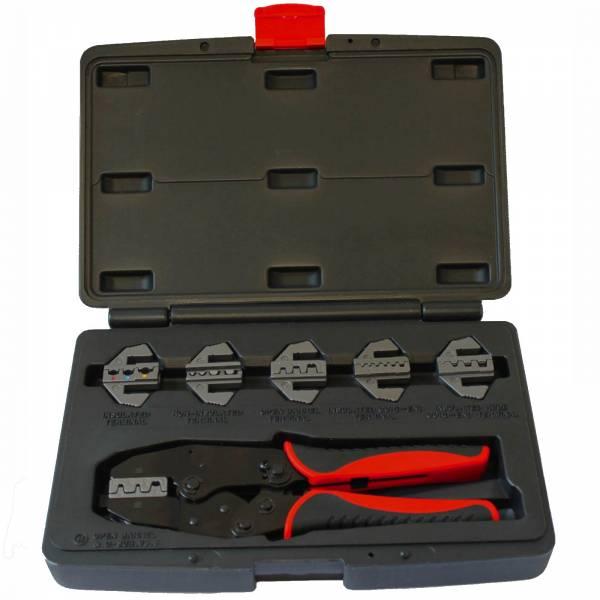WHB Ratschen-Crimpzangensatz 4520 mit 6 auswechselbaren Crimpeinsätzen im Koffer