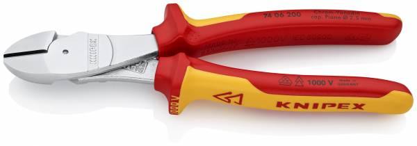 KNIPEX 74 06 200 Kraft-Seitenschneider 200 mm verchromt isoliert mit Mehrkomponenten-Hüllen, VDE-gep