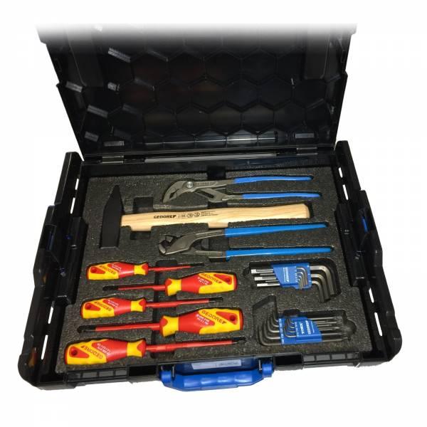Gedore Werkzeug-Set 25 teilig in L-BOXX mit Hammer, Zange, Schraubendreher