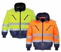 Warnschutz Jacke 3-in-1 Pilotjacke Ärmel u Futter abnehmbar ISO 20471
