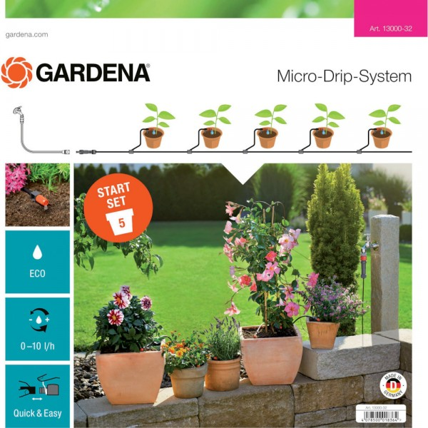 Gardena MDS Pflanztopf Start-Set S 13000-32 Micro-Drip-System + 10m Rohr