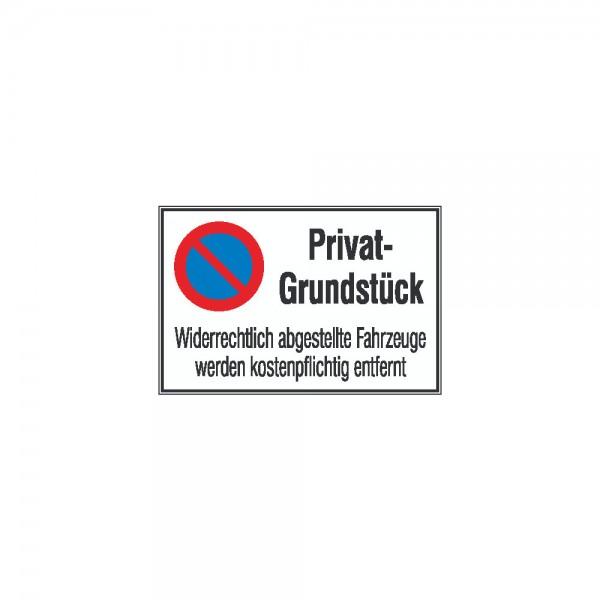 Symbol Privat-Grundstück Aluminium geprägt