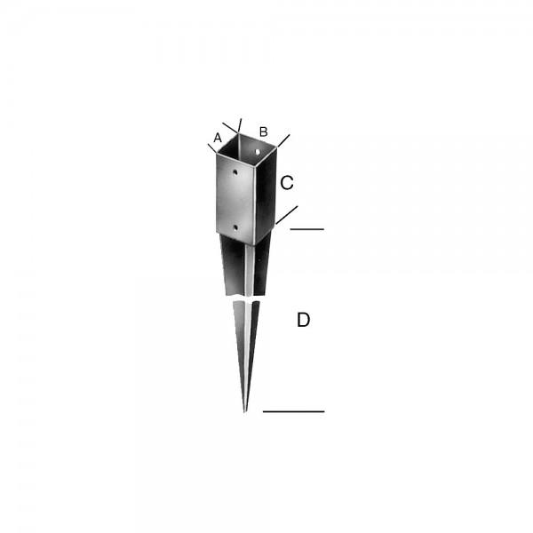 Einschlagbodenhülsen tzn 71x900 Stärke 1,8mm