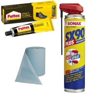 Warengruppe Werksattmaterial, Putzpapier, Reinungsmittel, SONAX-Produkte, etc.
